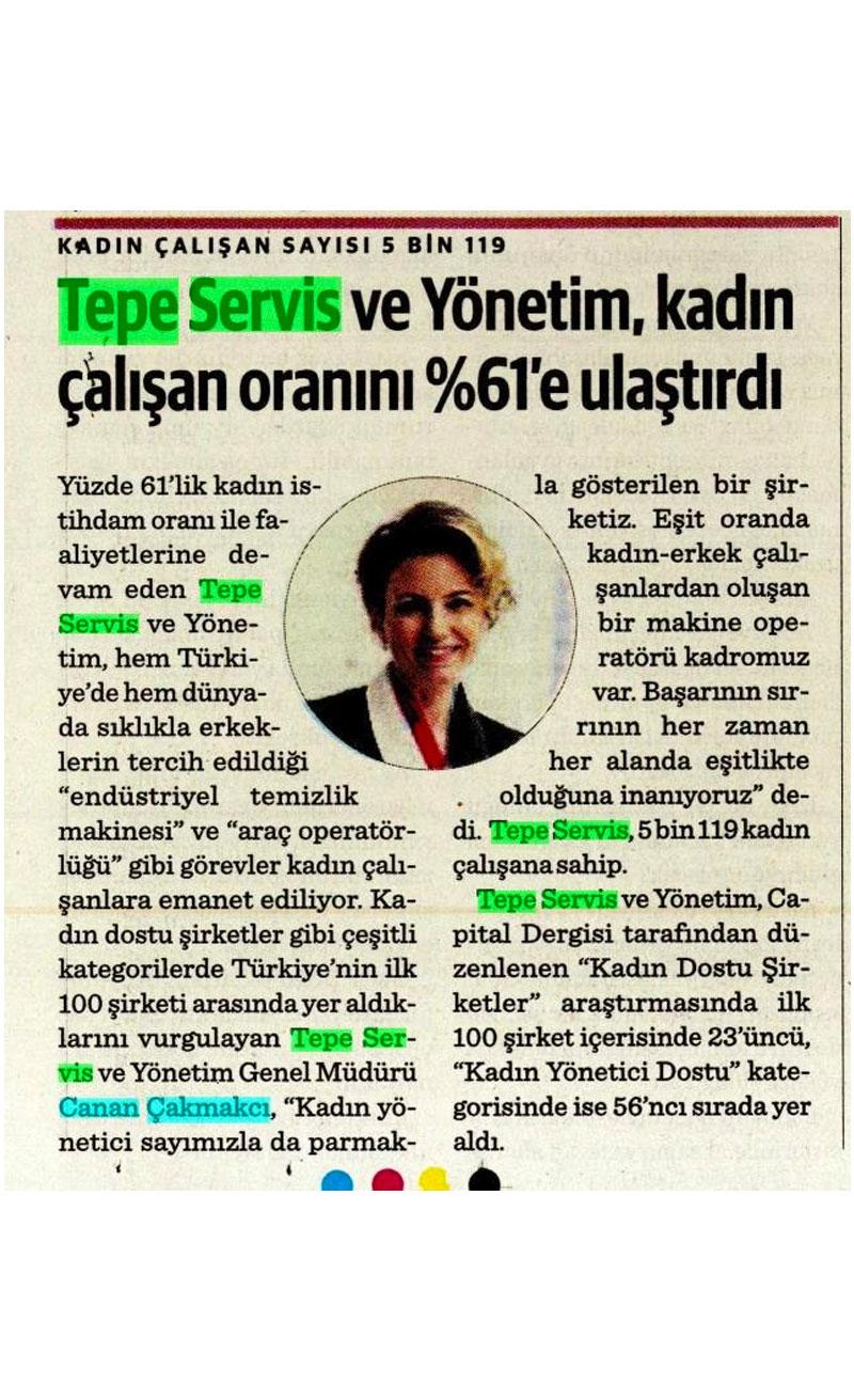 Tepe Servis kadın çalışan oranı %61'e ulaştırdı