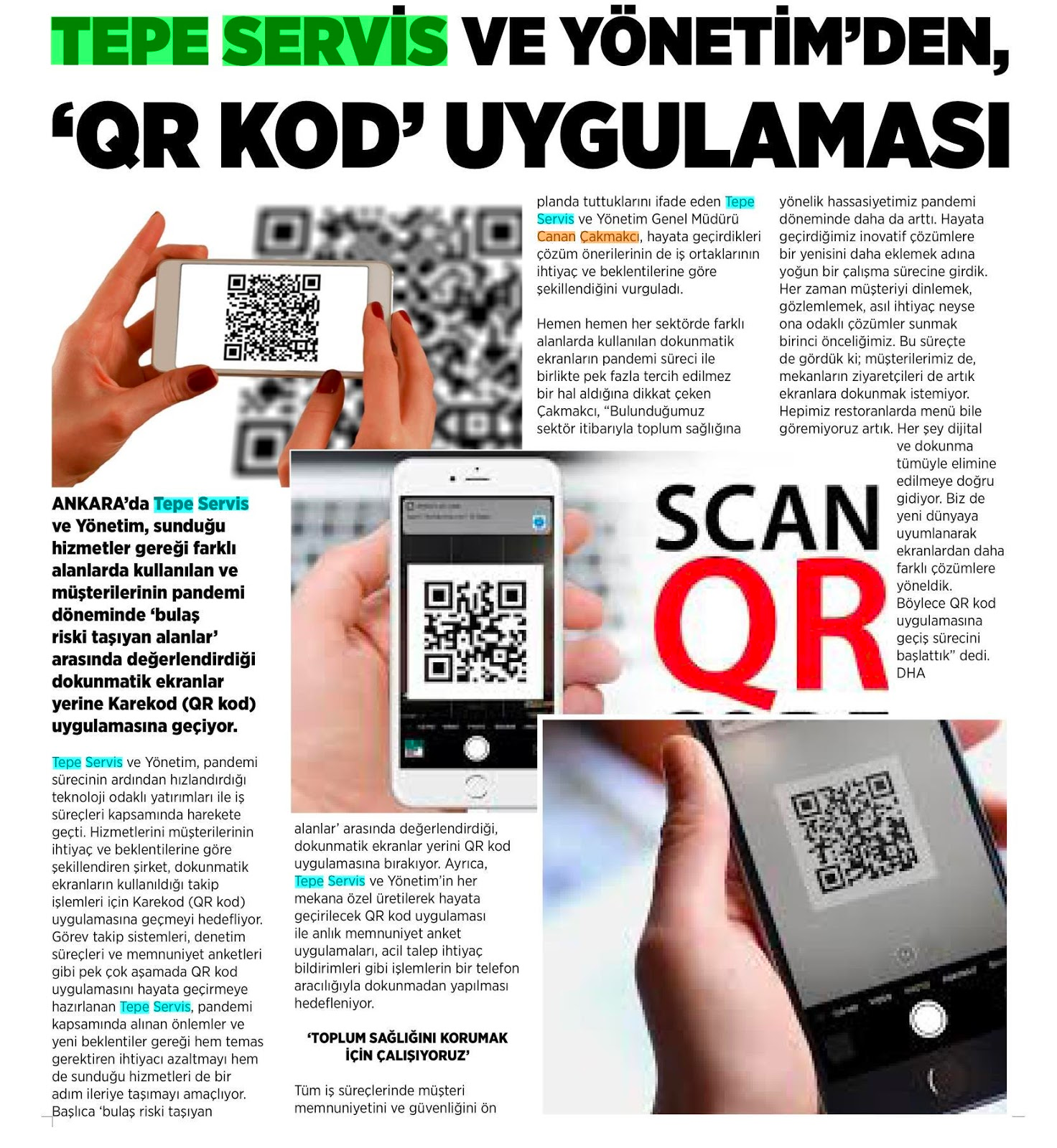 Tepe Servis ve Yönetimden QR Kod Uygulaması
