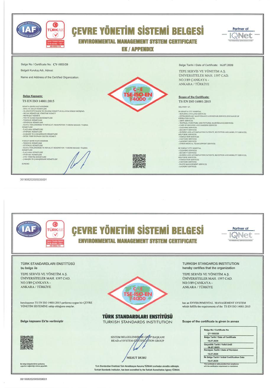 Isparta Şehir Hastanesi PPP Projesi ISO 14001