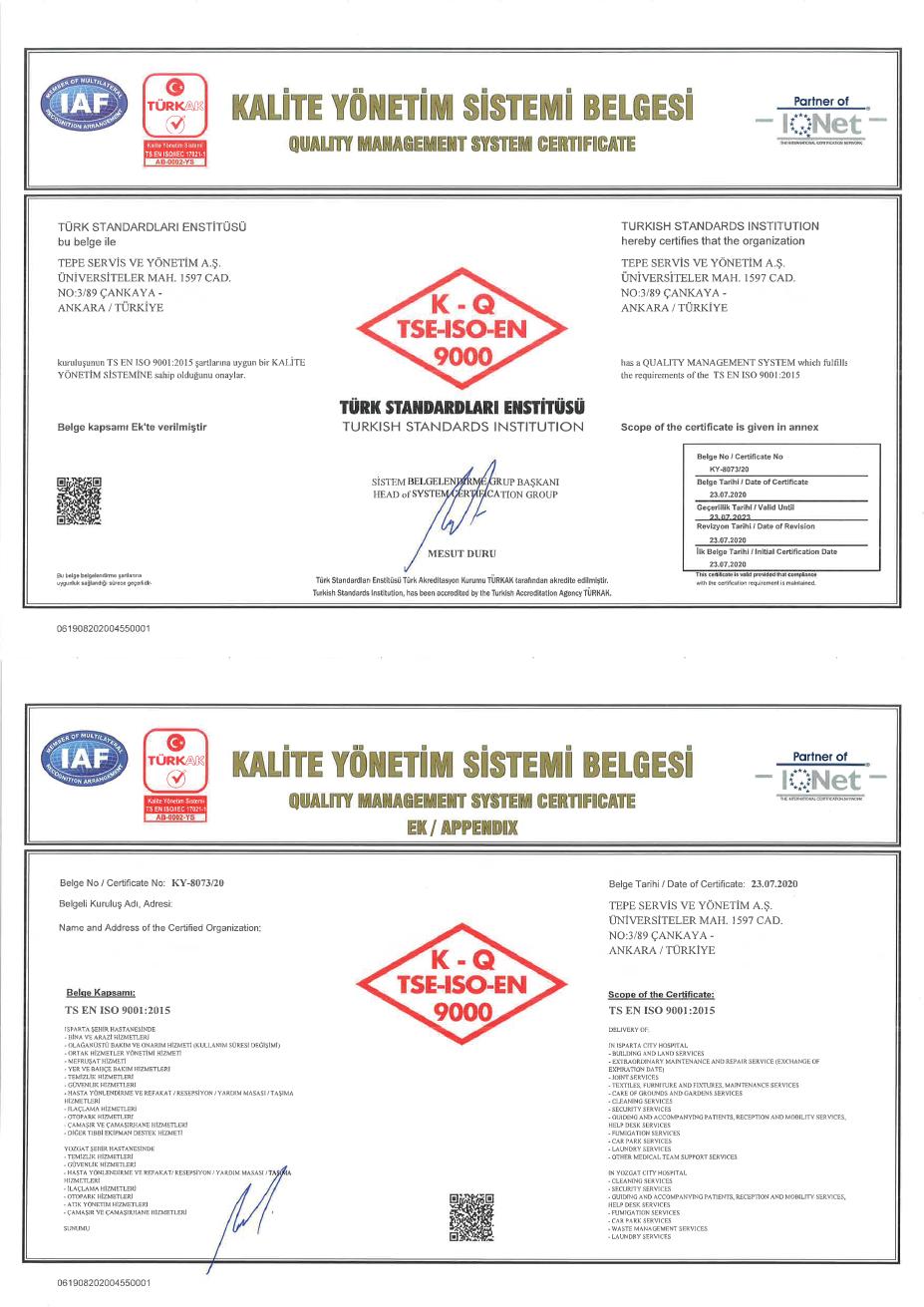 Isparta Şehir Hastanesi PPP Projesi ISO 9001