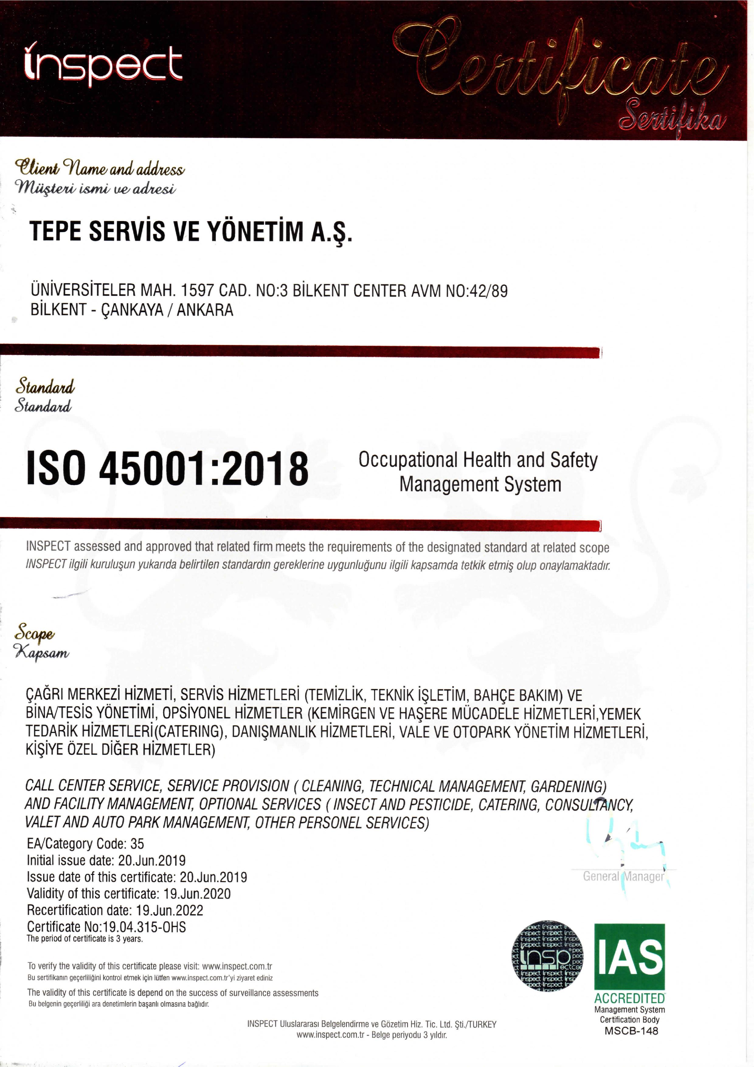 TEPE SERVİS ISO 45001