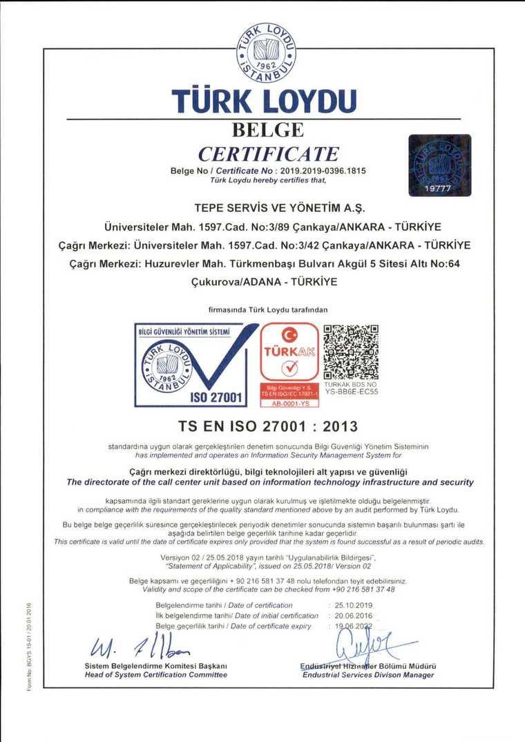 Tepe Servis - ISO 27001