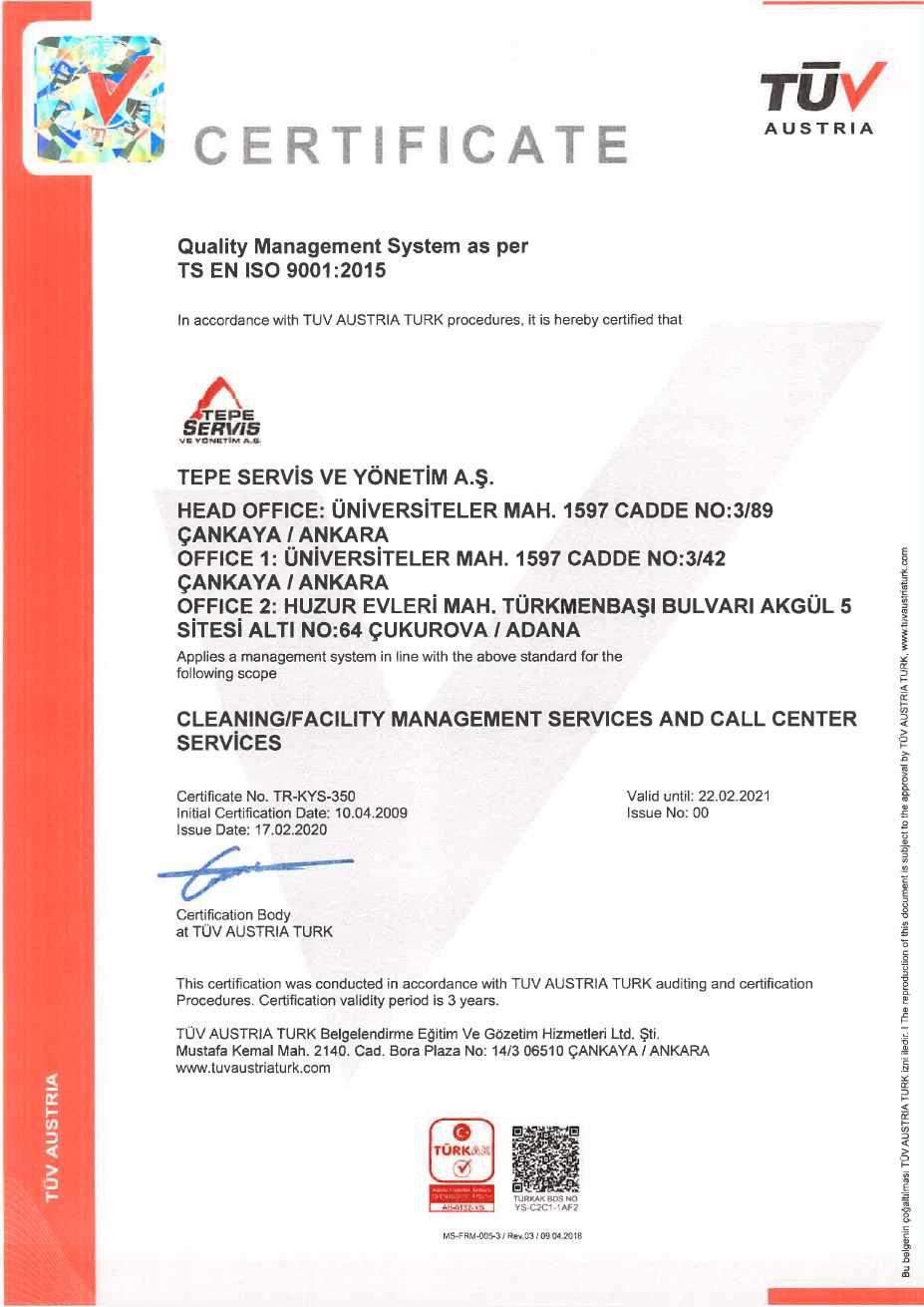 Tepe Servis - ISO 9001 2019 - EN