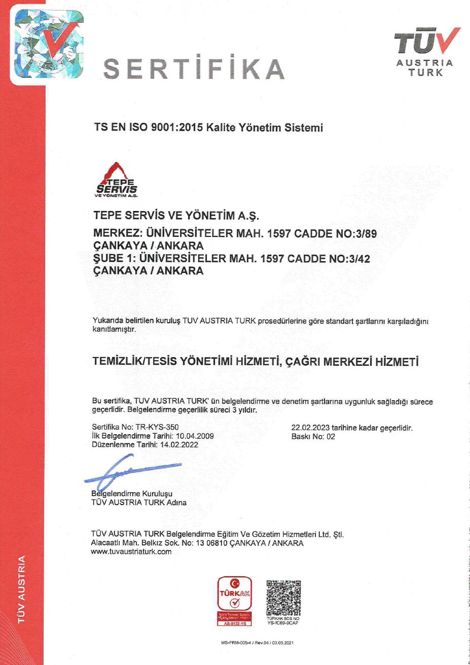 Tepe Servis - ISO 9001 TR - 2019