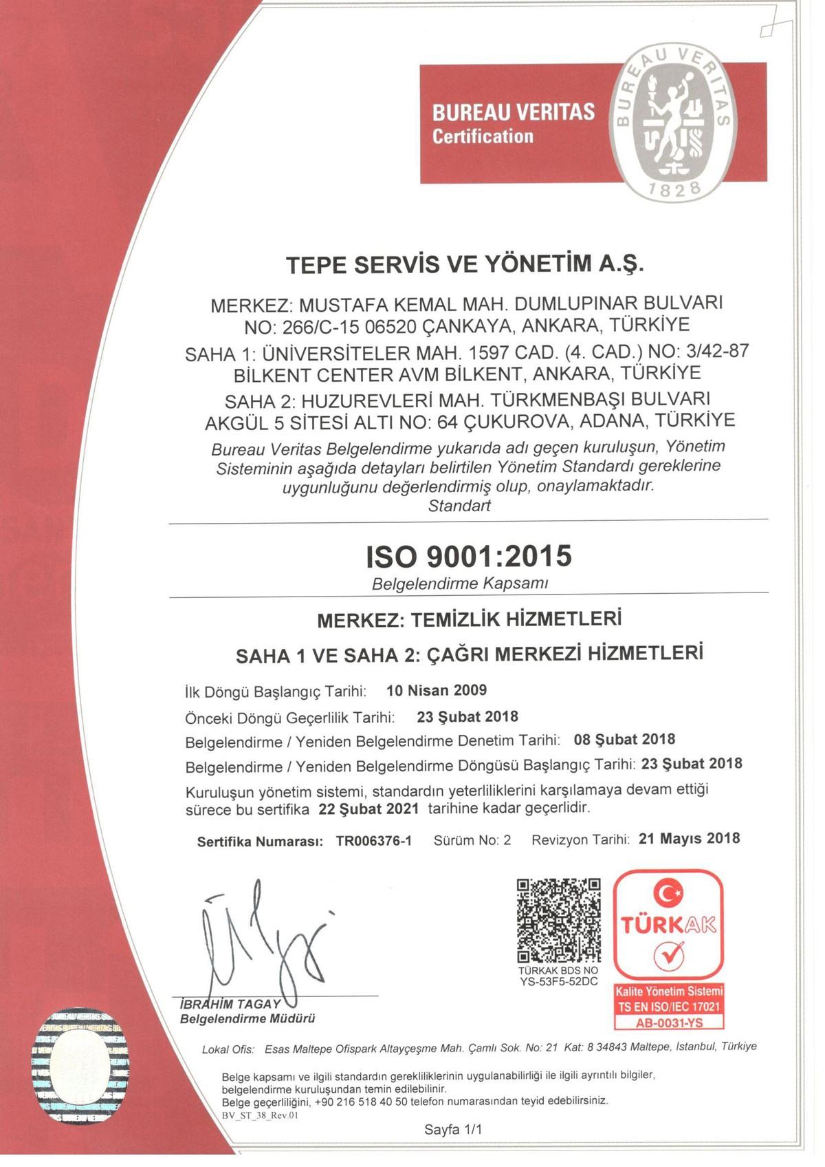 Tepe Servis - ISO 9001