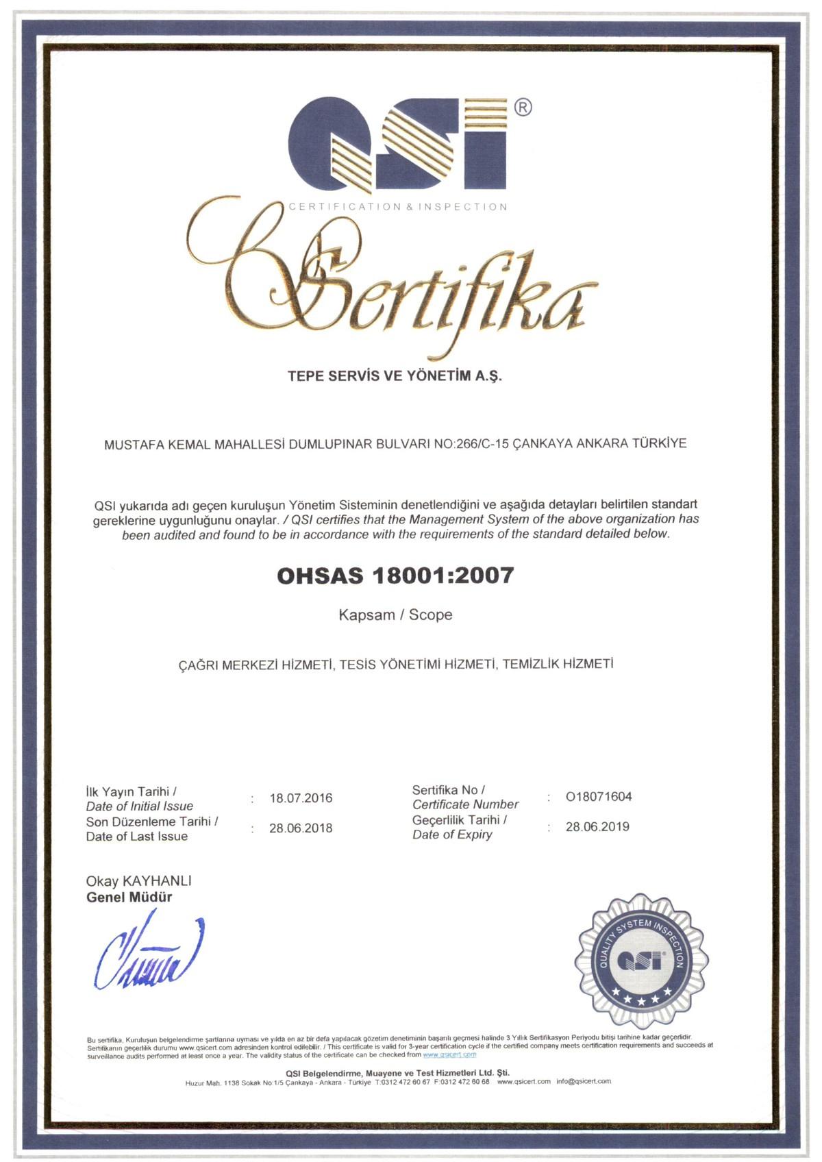Tepe Servis - Ohsas 18001