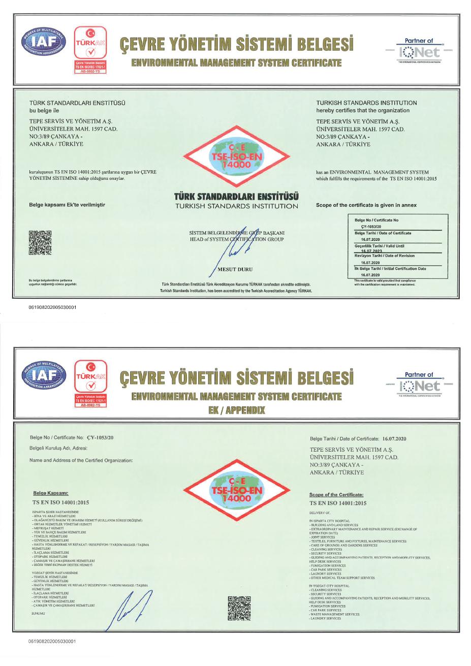 Yozgat Şehir Hastanesi PPP Projesi ISO 14001
