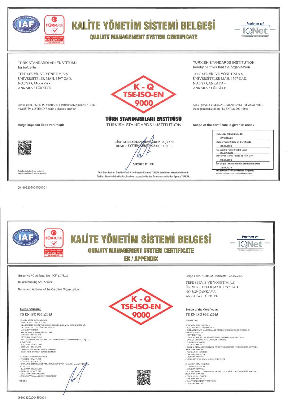 Yozgat Şehir Hastanesi PPP Projesi ISO 9001